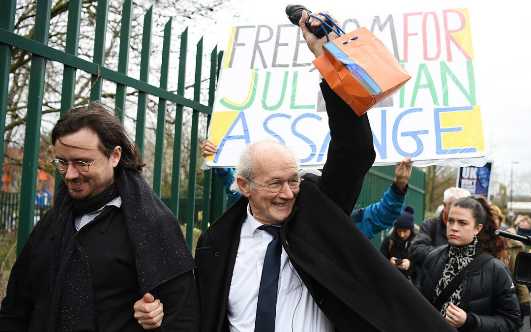 John and Gabrielle Shipton campaigning for their brother and son, Julian Assange